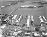 Aerial view of steamships at city piers